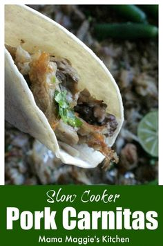 Slow Cooker Pork Carnitas is an easy recipe that involves minimal work and lots of flavor. This Mexican food classic is perfect for entertaining or busy weeknights. Serve with warm tortillas and salsa. by Mama Maggie's Kitchen #mamamaggieskitchen Leftover Hamburger Patties Recipe, Best Hamburger Patty Recipe, Recipes Using Hamburger, Patty Melt Recipe, Homemade Hamburgers, Homemade Bbq, Onion Soup Recipes, Beef Recipes, Slow Cooker Pork