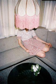 Hidden behind the pink lamp shade. Photos by Joanna Skrzypczak. Art Photography, Fashion Photography, Photography Magazine, Editorial Photography, Tumbrl Girls, Photo Star, Vogue, Inspiration Mode, Moda Fashion