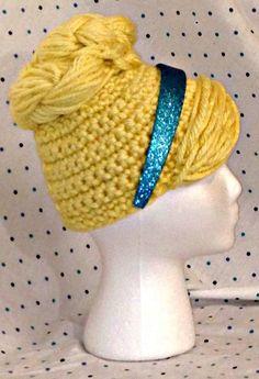 Cinderella wig hat by YellowSpotDesigns on Etsy Crochet Kids Hats, Crochet Cap, Crochet Girls, Crochet Beanie, Free Crochet, Yarn Wig, Crochet Character Hats, Crochet Princess, Crochet Costumes