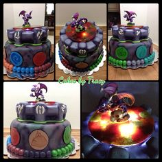 Skylanders Birthday Cake - Made for a kid at church. Cake is chocolate with chocolate buttercream. Top tier is cake with rice krispies treats for the details like the columns and upper ledge. Both tiers are covered in Fondx World Brand fondant and then airbrushed. The disks are also fondant which I painted with food coloring. The top disk is made from melted Life Savers candies and placed over LED lights. The figurine was bought.