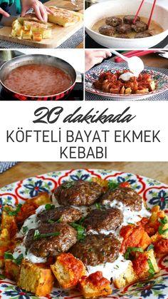 Köfteli Bayat Ekmek Kebabı Tarifi - Nefis Yemek Tarifleri Paper Plate Crafts For Kids, Turkish Kitchen, Kebab, Pasta, Turkish Delight, Iftar, Turkish Recipes, Homemade Beauty Products, Mediterranean Recipes