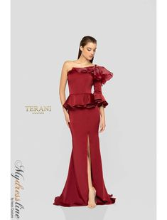 df18ab0932b8 Terani Couture 1911E9127 classy crepe back satin one shoulder and sleeve  mock two piece gown.