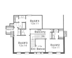 Colonial Floor Plan Second Floor - 036D-0099 | House Plans and More