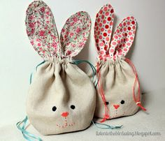 Bunny treat bags a free sewing tutorial fabric squares bunny pouch easter bunny pouch tutorial from listen to the birds sing negle Gallery