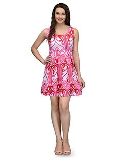 DeDes-Pink-and-White-Poly-Crepe-Womens-Sleeveless-Dress