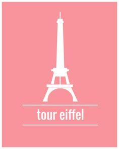 #flat #design #poster: Eiffel Tower illustration Poster paris di TheBellaPrintShop
