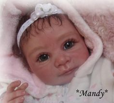 Reborn Baby girl Mandy... Lisa Dorothia kit by Iris Klement.. 5 lbs..18 inches..rooted hair..Created by me..2009...