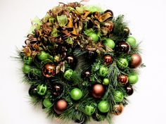 Christmas Wreath Brown Bronze and Lime by SandyNewhartDesigns, $169.00