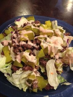 Big Mac in a Bowl - low carb - really good. WF Thousand Island Dressing is Walden Farms brand with 0 carbs & 0 calories