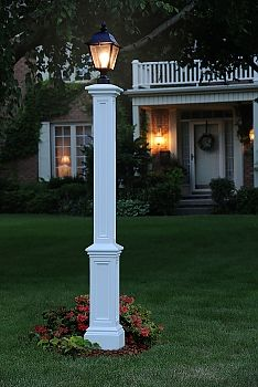 Signature vinyl lamp post for your yard offered in two colors by Mayne.