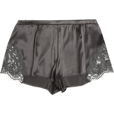 Lace-trimmed stretch-silk satin shorts ($105) ❤ liked on Polyvore featuring intimates, lingerie, shorts, sleepwear, nightwear and dolce