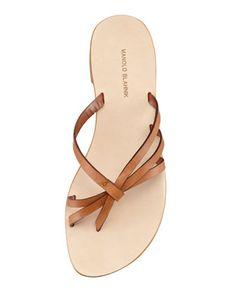MANOLO BLAHNIK Swalka Strappy Leather Thong Sandal, Luggage - Bergdorf Goodman