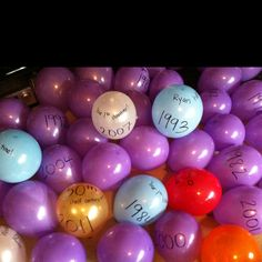 A balloon for every year of life, with important dates written on them!  Great idea for my 40th birthday party in a few years