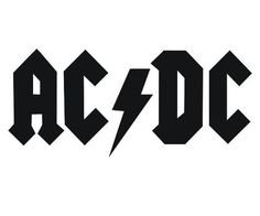 AC DC text title logo for rock band