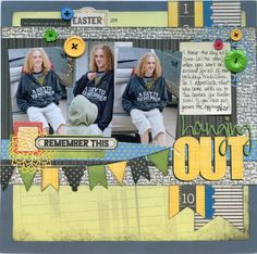 Hanging out good teen scrapbook layout layout using paper strips