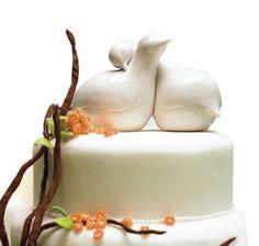 Glazed Porcelain Lovebirds Cake Topper by FavorIdeas