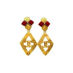 Chanel - Authentic Vintage Chanel Earrings CC Logo Rhombus Dangle Red... ❤ liked on Polyvore