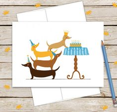 Humorous Dachshund Birthday Card for Dog Lovers or Kids
