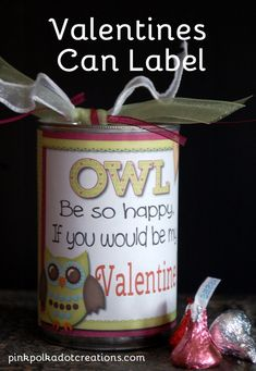 Super cute idea: replace contents of pop lid soup can with Valentine treats. This free printable makes it super sweet.