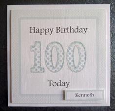 Personalised Male 100th Handmade Birthday Card - SC76 £2.75