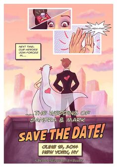 Comic Book Style Wedding Invitation, Save the Date Wedding Card, DIY Valentines Day Ideas #Valentines day gift ideas #spring wedding ideas www.dreamyweddingideas.com