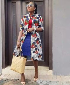 Jacket can be worn on a dress or a denim. Ankara jacket with Lapel. Can be worn to work, and can also serve as a duster Length is 3 quarter sleeves SMALL: LARGE: XLARGE Latest African Fashion Dresses, African Dresses For Women, African Print Fashion, African Attire, African Wear, African Lace, African Shirt Dress, Ankara Styles For Women, African Tops