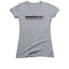 Programmers Do It Juniors Sheer Cap Sleeve V-Neck T-Shirt