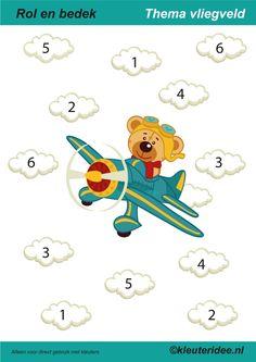 Rol en bedek thema vliegveld 1-6, juf Petra van Kleuteridee, roll a dice and cover, free printable.