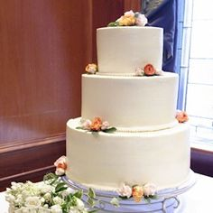 Simple Wedding Cake With Real Flowers by Cup a Dee Cakes