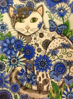 Diamond Painting Blue Flowers and a Cat Paint with Diamonds Art Crystal Craft Decor Cool Cats, I Love Cats, Crazy Cats, Cat Eyes Drawing, Cat Colors, Diamond Art, Arte Pop, Cat Art, Cats And Kittens