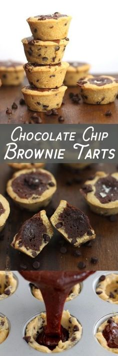 Chocolate chip brownie tarts - A chocolate chip cookie shell with gooey brownie filling. So simple, these can be made in 30 minutes - no mixer required.