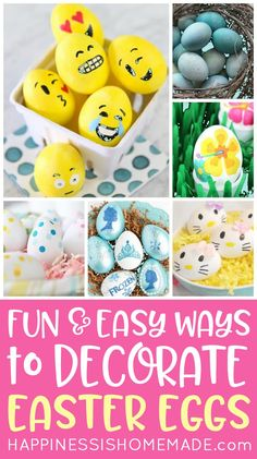 Looking for some new and creative ways to decorate Easter eggs this year? These cute and easy Easter egg decorating ideas are TONS of fun for all ages! Kinder Easter Egg, Emoji Easter Eggs, Funny Easter Eggs, Easter Bunny Eggs, Easter Activities For Kids, Easter Crafts For Kids, Easter Ideas, Coloring Easter Eggs, Egg Decorating
