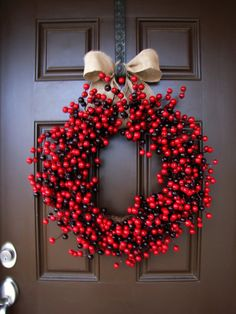 Vibrant and cheerful Red and Burgundy Cranberry Wreath by TheWrightWreath on Etsy