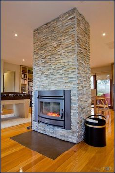 Open Floor Plan Decorating   Fireplace in an open floor plan. wonderful like free standing double sided view