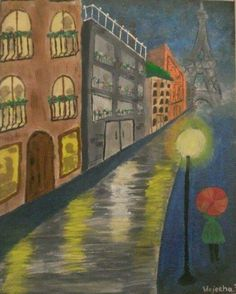 """Un Nuit A Paris"" - Acrylic Painting by Wajeeha Zaheer"