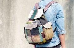 手工棉麻拼接設計後背包 / 肩背包 / 登山包 / 旅行包 - 幾何色塊拼接民族旅行風 ( 限量一件 )