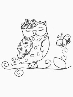 Her love of Owls Bird Embroidery, Hand Embroidery Designs, Embroidery Stitches, Embroidery Patterns, Applique Templates, Owl Art, Tampons, Digi Stamps, Coloring Book Pages