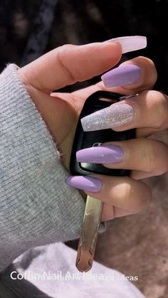 Lavender coffin acrylic nails dream nails в 20 Purple Acrylic Nails, Coffin Nails Matte, Summer Acrylic Nails, Best Acrylic Nails, Purple Nails, Gel Nails, Summer Nails, Violet Nails, Manicure