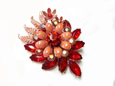Vintage Orange Rhinestone Brooch Enamel Pin Gift by SoBejeweled