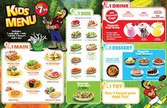 KIDS MENU Kids Cafe, Kids Menu, Playground Ideas, Greek Salad, Food Packaging, Iced Tea, Pretty Good, Lunches, Lemonade