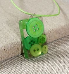 Green Button Resin Pendant Necklace - Resin Jewellery