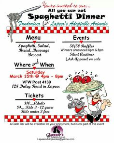 Spaghetti dinner fundraiser for Lapeer's Adoptables!! Saturday March 15  @ 4pm-8pm  Lapeer VFW   https://www.facebook.com/photo.php?fbid=599391320131691&set=a.274627135941446.60725.267166810020812&type=1&theater