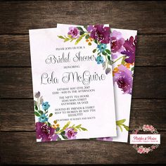 Floral Bridal Shower Invitation - Jewel Tone Bridal Shower - Peony Wedding - Custom Bridal Shower Invitation - Shabby Chic Wedding  Please note that this is a DIGITAL invitation set download only, no physical product will be shipped.  YOU WILL RECEIVE: ♥ Bridal shower invitation 5 x 7 jpg - Front and Back Design 8.5 x 11 (letter size) with 2 invitations per page - Front and Back Design  HOW TO PLACE ORDER: ♥ Purchase this listing ♥ Provide the following information in the Note to seller box…