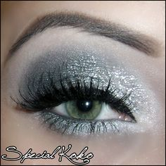Silvery-white eyeshadow with black mascara--shimmery and fairy-like!