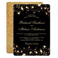 Glamorous Black Gold Faux Glitter Stars Wedding Card - confetti wedding marriage party gift idea diy
