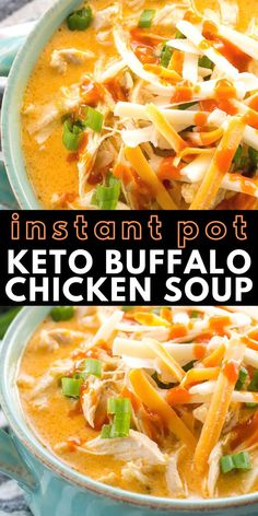 Keto Buffalo Chicken Soup- This low carb Instant Pot Buffalo Chicken Soup is loaded with tender shredded chicken, spicy buffalo sauce and tons of cheese! Under 5 net carbs per serving and perfect for keto meal prep! Ketogenic Recipes, Healthy Recipes, Healthy Shredded Chicken Recipes, Low Carb Soup Recipes, Chili Recipes, Recipes With Buffalo Sauce, Low Carb Soups, Healthy Low Carb Meals, Keto Crockpot Recipes