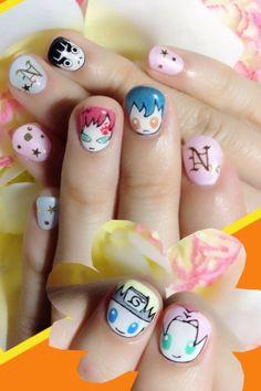 Naruto nail art by Nakayama Chieko Kawaii Nail Art, Cute Nail Art, Cute Nails, Pretty Nails, Easter Nail Designs, Christmas Nail Art Designs, Christmas Nails, Naruto Nails, Anime Nails