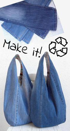 DIY denim bag pattern slouchy shoulder bag hobo bag   Etsy Denim Bag Patterns, Bag Patterns To Sew, Jean Crafts, Denim Crafts, Recycle Jeans, Diy Old Jeans, Denim Bags From Jeans, Diy Bags Jeans, Diy Denim Purse