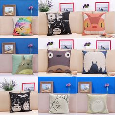 2016 Hot Sale Hayao Miyazaki Totoro Cotton linen Pillow Case For office/bedroom/chair seat cushion 18x18 inches Decorative - free shipping worldwide