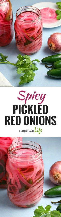 Spicy Pickled Red Onions are quick, easy, and the perfect accompaniment to sandwiches and salads, or tacos and burrito bowls! Condiment | Pickles | Topping for Tacos, Burrito Bowls | Side Dish